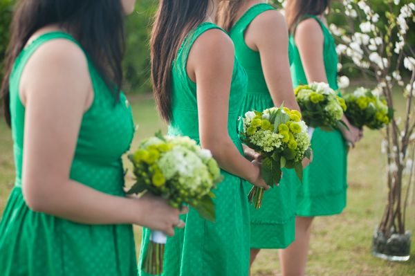 Green bouquets and dresses for a spring wedding by destination wedding planner Mango Muse Events