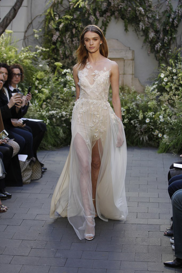 Cream front slit wedding dress by Monique Lhuillier bridal from Bridal Fashion Week Best wedding dresses picked by Destination wedding planner, Mango Muse Events