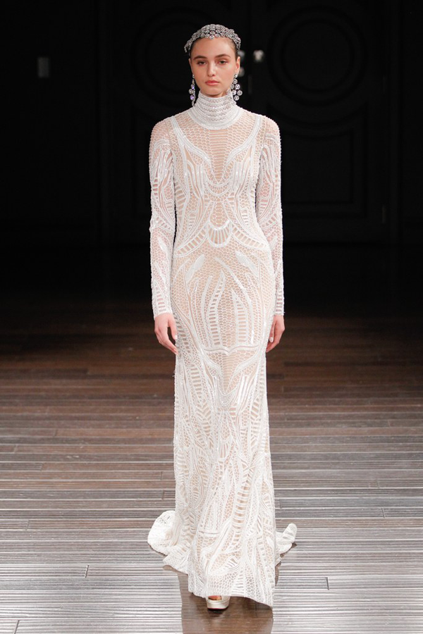 Fishnet high neck wedding dress by Naeem Khan bridal from Bridal Fashion Week Best wedding dresses picked by Destination wedding planner, Mango Muse Events