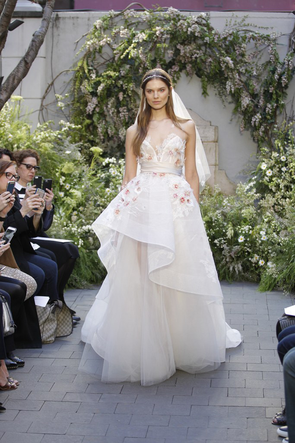 Floral wedding dress by Monique Lhuillier bridal from Bridal Fashion Week Best wedding dresses picked by Destination wedding planner, Mango Muse Events