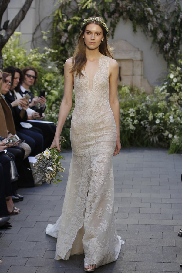 Lace front slit wedding dress by Monique Lhuillier bridal from Bridal Fashion Week Best wedding dresses picked by Destination wedding planner, Mango Muse Events