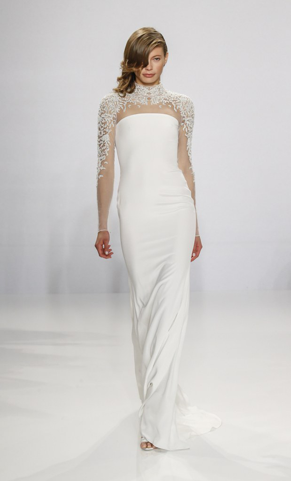 Sheer high neck wedding dress by Christian Siriano bridal from Bridal Fashion Week Best wedding dresses picked by Destination wedding planner, Mango Muse Events