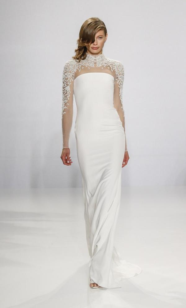 Sheer high neck wedding dress by Christian Siriano bridal from Bridal Fashion Week Best wedding dresses picked by Destination wedding planner, Mango Muse Events