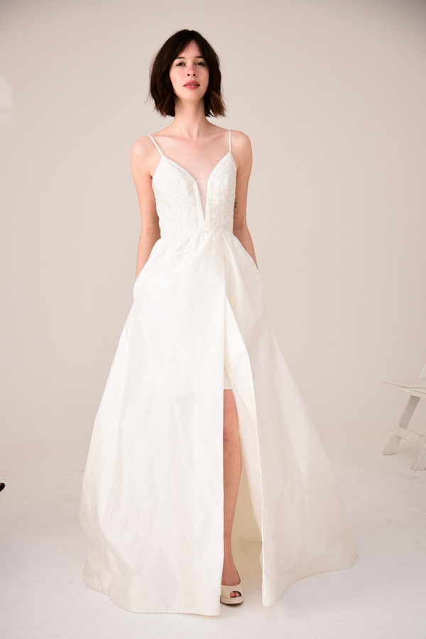 Modern front slit wedding dress by Amsale bridal from Bridal Fashion Week Best wedding dresses picked by Destination wedding planner, Mango Muse Events